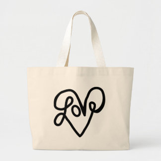 Love Typography Text Art Tote Bag