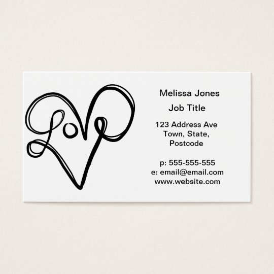 Love Typography Text Art Business Card