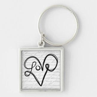 Love Typography Text Art Key Chain