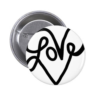 Love Typography Text Art Pinback Button