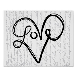 Love Typography Text Art Poster