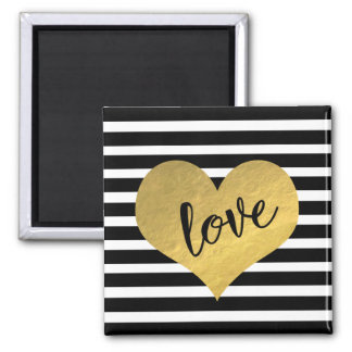 Love Typography With Gold Heart And Stripes Magnet