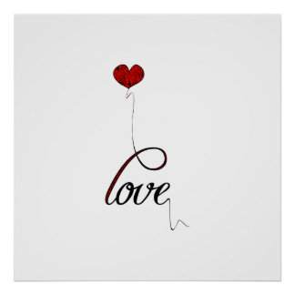 """Love"" Typography with Red Heart Balloon Poster"