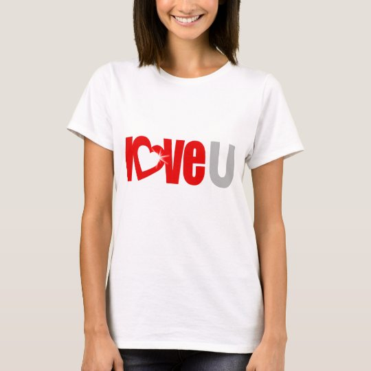 """love U"" sparkle white heart red & grey tee"
