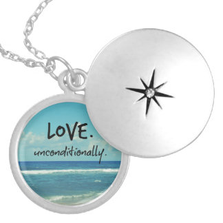 Love Unconditionally Quote Affirmation Round Locket Necklace