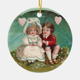 Love Under an Umbrella Vintage Valentine Double-Sided Ceramic Round Christmas Ornament