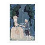 Love under the Fountain, illustration for 'Fetes G Postcard