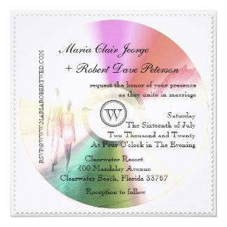 LOVE Unique Modern Retro CD Stamp Wedding Invites Announcement