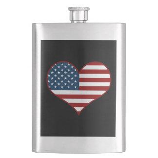 Love USA Flag Heart Flask