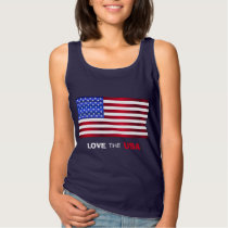 Love USA Flag Women's Basic Tank Top