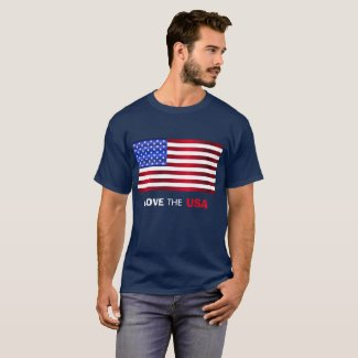 Love USA/Red White Blue Flag T-Shirt