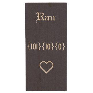 Love USB. 101 10 0 means I LOVE YOU. Wood USB Flash Drive