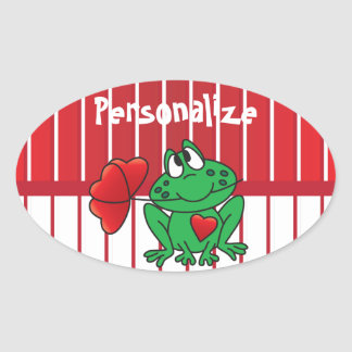 Love Valentine Frog Oval Sticker