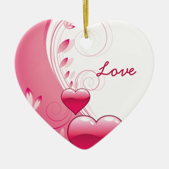 Love Valentine's Day hearts swirls custom ornament
