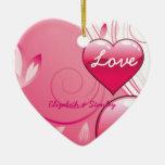 Love Valentine's Day hearts swirls custom ornament