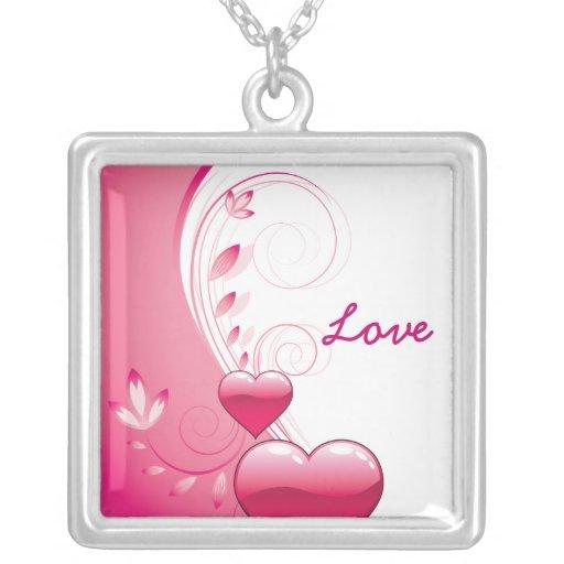 Love Valentine's Day hearts swirls silver pendant