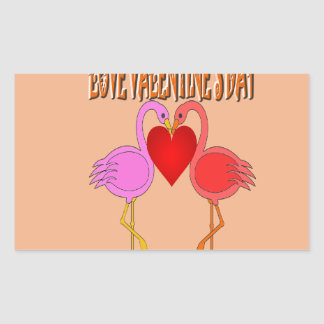 Love Valentine`s Day With Background Rectangle Stickers