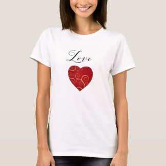 Love, valentine t shirt with red heart