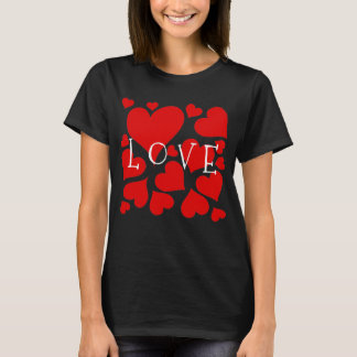 Love, valentine t shirt with red hearts