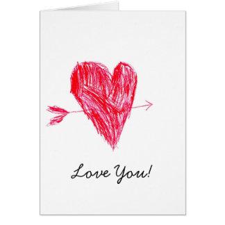 Love Valentine's Cute Kid Drawing Greeting Card