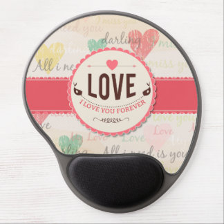 """Love"" Valentines day design with hearts Gel Mouse Mat"