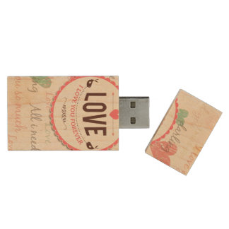 """Love"" Valentines day design with hearts Wood USB Flash Drive"