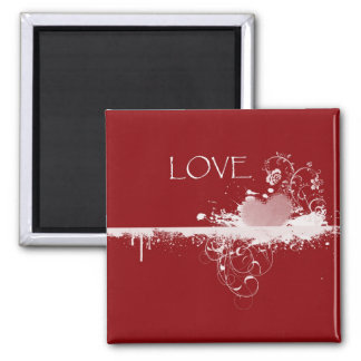 LOVE Valentine's Day Red White Heart Gifts 2 Inch Square Magnet