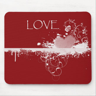 LOVE Valentine's Day Red White Heart Gifts Mouse Pad