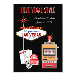 Love Vegas Style Black Wedding Invitation