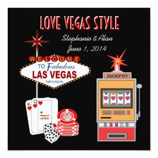 Love Vegas Style Black Wedding Invitation