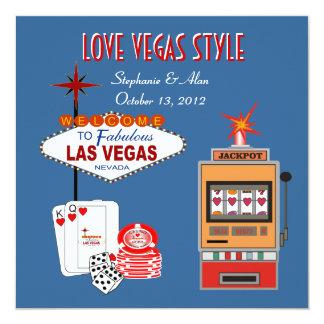 Love Vegas Style Blue Wedding Invitation