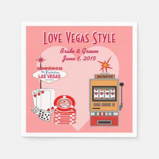 Love Vegas Style Pink Wedding Paper Napkins