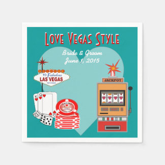 Love Vegas Style Teal Wedding Paper Napkins