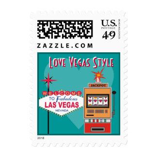 Love Vegas Style Teal Wedding Postage