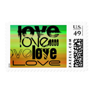 Love; Vibrant Green, Orange, & Yellow Postage