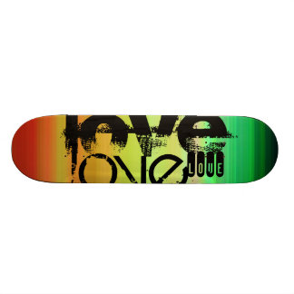 Love; Vibrant Green, Orange, & Yellow Skate Board Decks