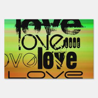 Love; Vibrant Green, Orange, & Yellow Yard Sign