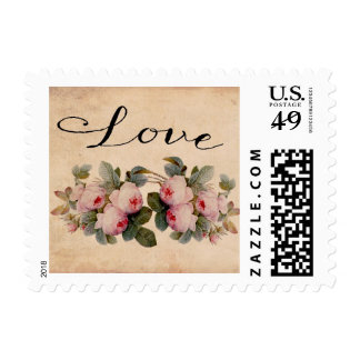 Love Victorian Roses Rustic Postage Stamp