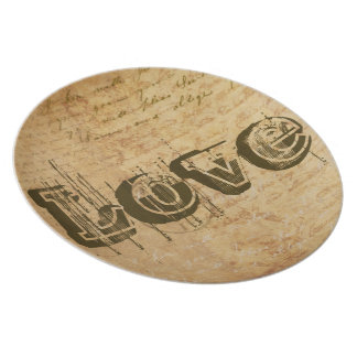 Love vintage distressed plate