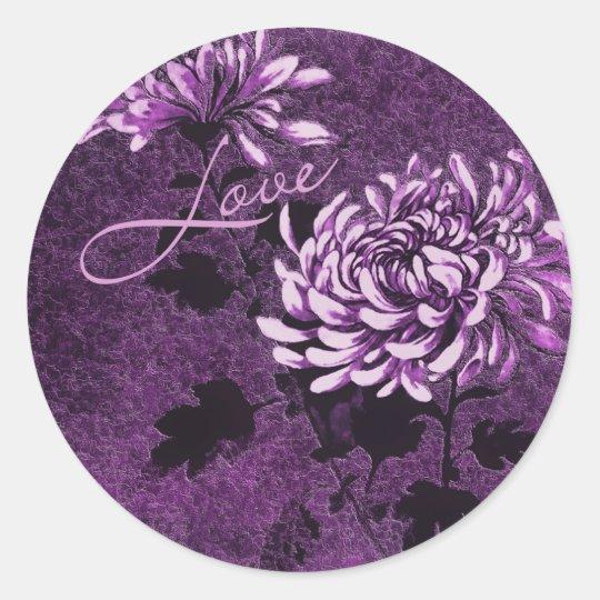 Love: Vintage Floral Classic Round Sticker