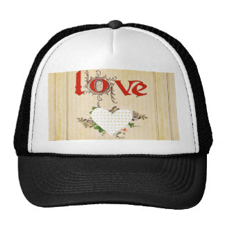Love,vintage,grunge,old fashioned,floral,pattern trucker hat