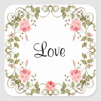 Love Vintage Rose Floral Stickers
