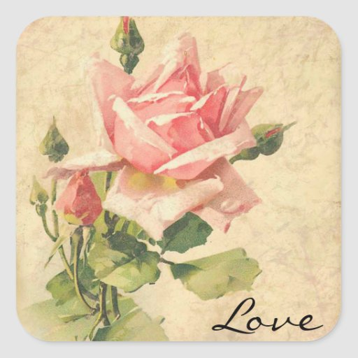 Love Vintage Shabby Chic Pink Rose Flower Stickers