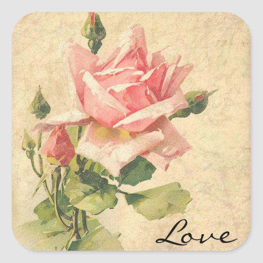 Love vintage shabby chic pink rose flower stickers - Vintage and chic love ...
