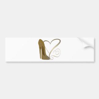 Love Vintage Stiletto Shoe and Hearts Bumper Sticker