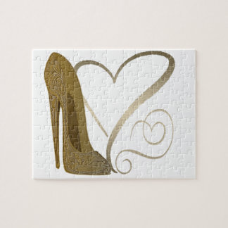 Love Vintage Stiletto Shoe and Hearts Jigsaw Puzzle