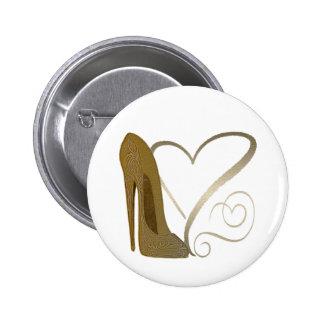 Love Vintage Stiletto Shoe Art and Hearts 2 Inch Round Button