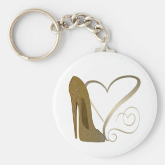 Love Vintage Stiletto Shoe Art and Hearts Basic Round Button Keychain