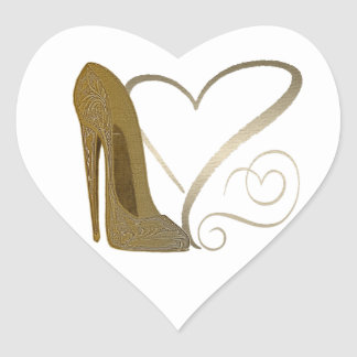 Love Vintage Stiletto Shoe Art and Hearts Heart Sticker