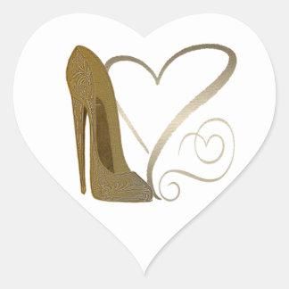 Love Vintage Stiletto Shoe Art and Hearts Heart Sticker